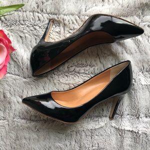 $298 J Crew Isabella Black Patent Leather Heels